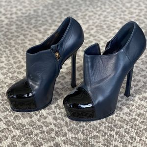 YSL Navy & Black Leather Platform Booties - 38
